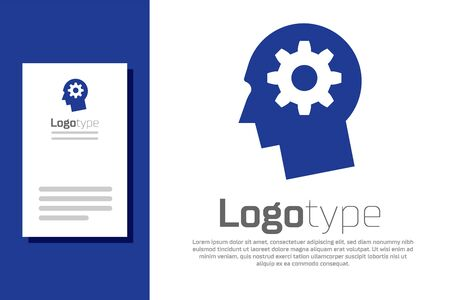 Blue Human head with gear inside icon isolated on white background. Artificial intelligence. Thinking brain sign. Symbol work of brain. Logo design template element. Vector Illustration Illustration