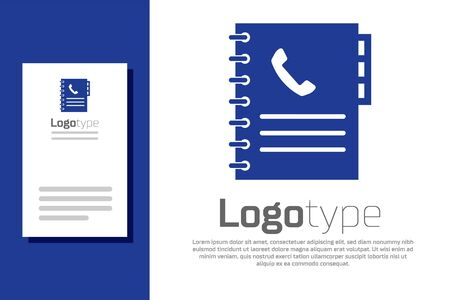 Blue Phone book icon isolated on white background. Address book. Telephone directory. Logo design template element. Vector Illustration