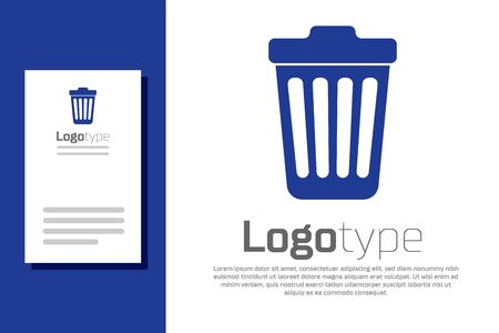 Blue Trash can icon isolated on white background. Garbage bin sign.