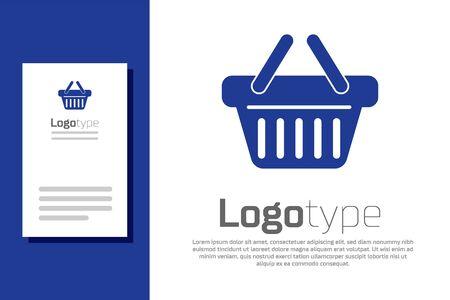 Blue Shopping basket icon isolated on white background.