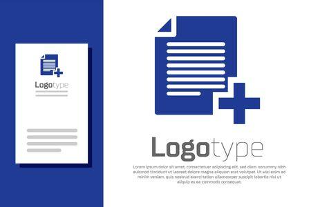 Blue Add new file icon isolated on white background. Copy document icon. Ilustracja