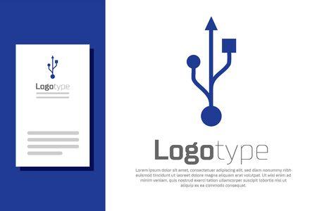 Blue USB symbol icon isolated on white background.