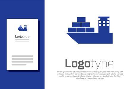 Blue Cargo ship icon isolated on white background. Logo design template element. Vector Illustration