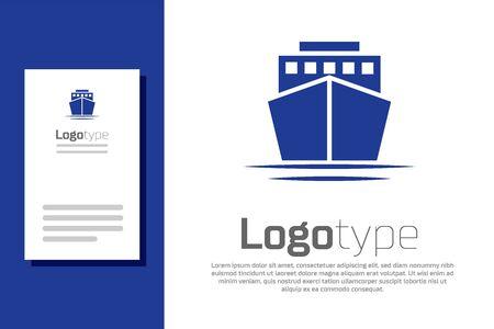 Blue Ship icon isolated on white background. Logo design template element. Vector Illustration Ilustracja
