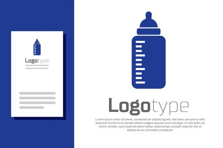 Blue Baby bottle icon isolated on white background. Feeding bottle icon. Milk bottle sign. Logo design template element. Vector Illustration