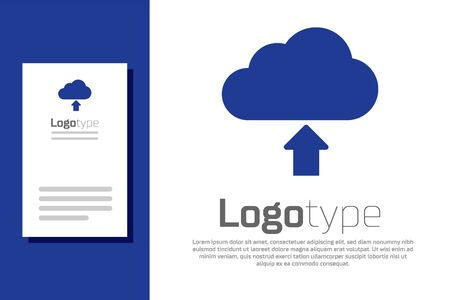 Blue Cloud download icon isolated on white background. Logo design template element. Vector Illustration Stock Vector - 132554846