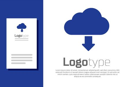 Blue Cloud download icon isolated on white background. Logo design template element. Vector Illustration