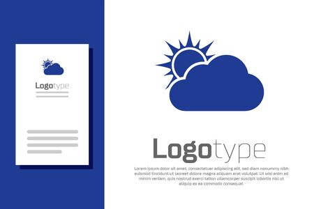 Blue Sun and cloud weather icon isolated on white background. Logo design template element. Vector Illustration