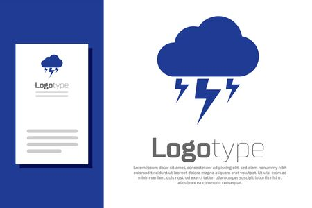 Blue Storm icon isolated on white background. Cloud and lightning sign. Weather icon of storm. Logo design template element. Vector Illustration Ilustracja