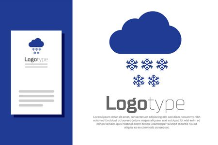 Blue Cloud with snow icon isolated on white background. Cloud with snowflakes. Single weather icon. Snowing sign. Logo design template element. Vector Illustration
