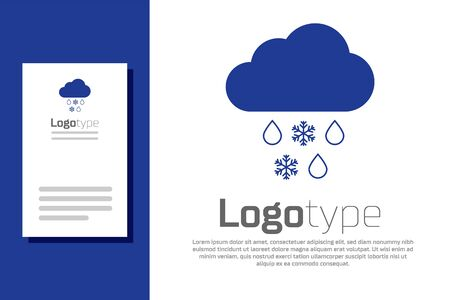 Blue Cloud with snow and rain icon isolated on white background. Weather icon. Logo design template element. Vector Illustration