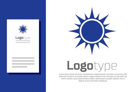 Blue Sun icon isolated on white background. Logo design template element. Vector Illustration