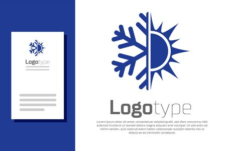 Blue Hot and cold symbol. Sun and snowflake icon isolated on white background. Winter and summer symbol. Logo design template element. Vector Illustration Ilustracja