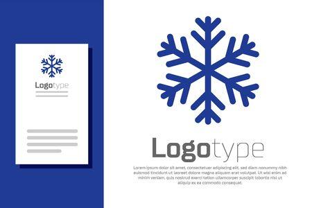 Blue Snowflake icon isolated on white background.