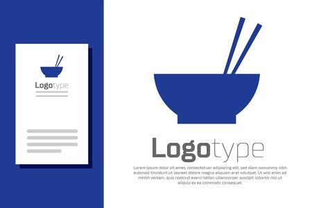 Blue Bowl with asian food and pair of chopsticks silhouette icon isolated on white background. Concept of prepare, eastern diet. Ilustracja