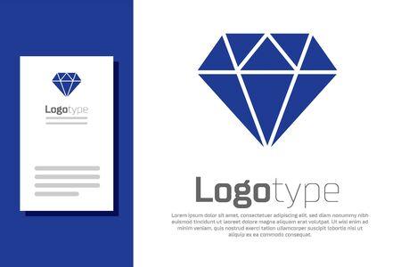 Blue Diamond icon isolated on white background. Jewelry symbol. Gem stone.