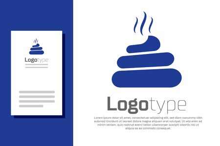 Blue Shit icon isolated on white background. Logo design template element. Vector Illustration