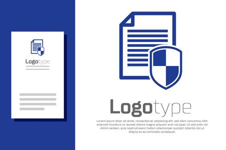 Blue Document protection concept icon isolated on white background. Confidential information and privacy idea, secure, guard, shield. Logo design template element. Vector Illustration Stock fotó - 134511687