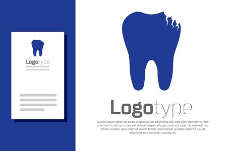 Blue Broken tooth icon isolated on white background. Dental problem icon. Dental care symbol. Logo design template element. Vector Illustration
