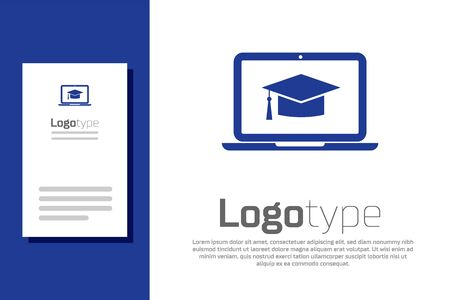 Blue Graduation cap on screen laptop icon isolated on white background. Online learning or e-learning concept. Logo design template element. Vector Illustration Illustration