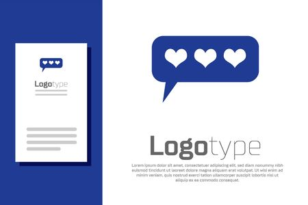 Blue Like and heart icon isolated on white background. Counter Notification Icon. Logo design template element. Vector Illustration