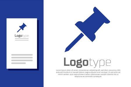 Blue Push pin icon isolated on white background. Thumbtacks sign. Logo design template element. Vector Illustration
