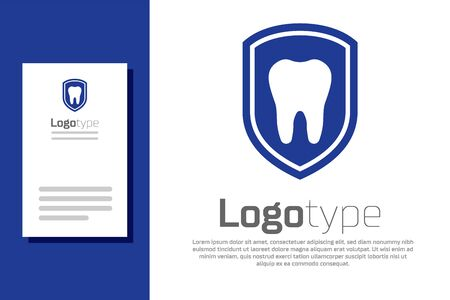 Blue Dental protection icon isolated on white background. Tooth on shield logo icon. Logo design template element. Vector Illustration Stockfoto - 134911453