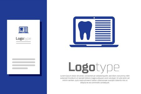 Blue Laptop with dental card or patient medical records icon isolated on white background. Dental insurance. Dental clinic report. Logo design template element. Vector Illustration Stockfoto - 134911454