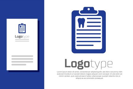 Blue Clipboard with dental card or patient medical records icon isolated on white background. Dental insurance. Dental clinic report. Logo design template element. Vector Illustration