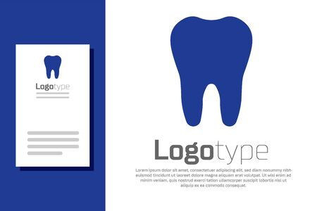 Blue Tooth icon isolated on white background. Tooth symbol for dentistry clinic or dentist medical center and toothpaste package. Logo design template element. Vector Illustration