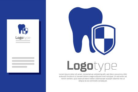 Blue Dental protection icon isolated on white background. Tooth on shield logo. Logo design template element. Vector Illustration Stock Illustratie