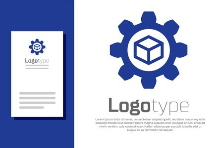 Blue Product development icon isolated on white background. Gear and cube. Product development symbol design from Startup collection. Logo design template element. Vector Illustration