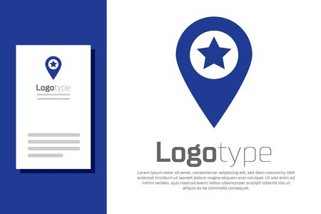 Blue Map pointer with star icon isolated on white background. Star favorite pin map icon. Map markers. Logo design template element. Vector Illustration