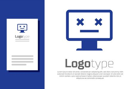 Blue Dead monitor icon isolated on white background. 404 error like pc with dead emoji. Fatal error in pc system. Logo design template element. Vector Illustration Illustration