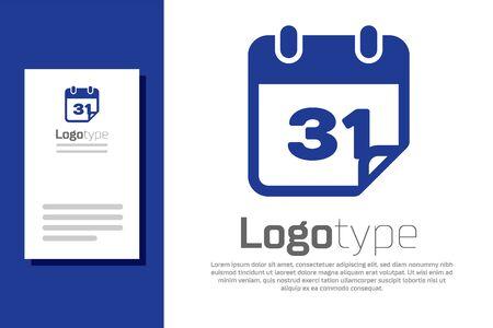 Blue Calendar icon isolated on white background. Logo design template element. Vector Illustration