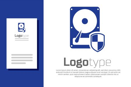 Blue Hard disk drive HDD protection icon isolated on white background. Logo design template element. Vector Illustration