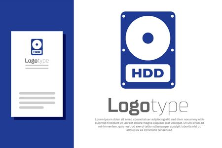 Blue Hard disk drive HDD icon isolated on white background. Logo design template element. Vector Illustration