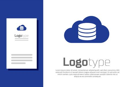 Blue Cloud database icon isolated on white background. Cloud computing concept. Digital service or app with data transferring. Logo design template element. Vector Illustration