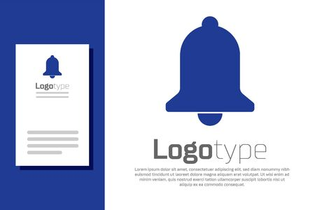 Blue Ringing bell icon isolated on white background. Alarm symbol, service bell, handbell sign, notification symbol. Logo design template element. Vector Illustration  イラスト・ベクター素材