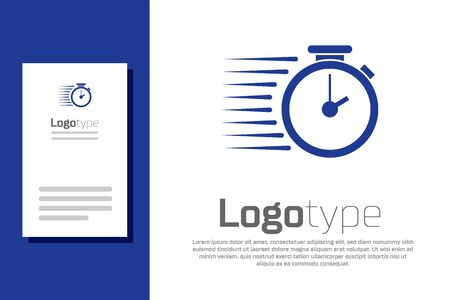 Blue Stopwatch icon isolated on white background. Time timer sign. Logo design template element. Vector Illustration