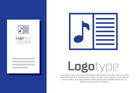 Blue Music book with note icon isolated on white background. Music sheet with note stave. Notebook for musical notes. Logo design template element. Vector Illustration