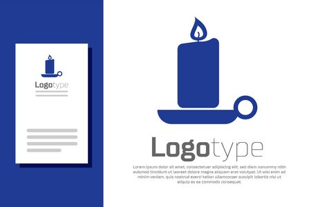 Blue Burning candle in candlestick icon isolated on white background. Old fashioned lit candle. Cylindrical candle stick with burning flame. Logo design template element. Vector Illustration