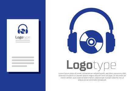 Blue Headphones and CD or DVD icon isolated on white background. Earphone sign. Compact disk symbol. Logo design template element. Vector Illustration