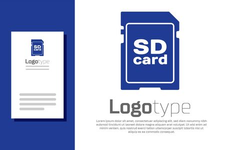 Blue SD card icon isolated on white background. Memory card. Adapter icon. Logo design template element. Vector Illustration