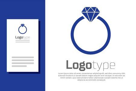 Blue Diamond engagement ring icon isolated on white background. Logo design template element. Vector Illustration
