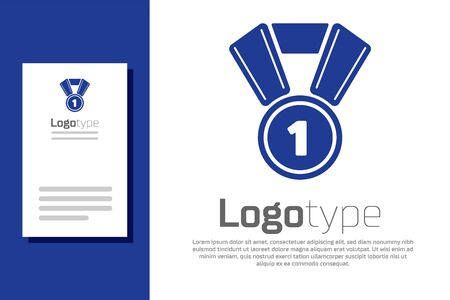 Blue Medal icon isolated on white background. Winner symbol. Logo design template element. Vector Illustration Ilustrace