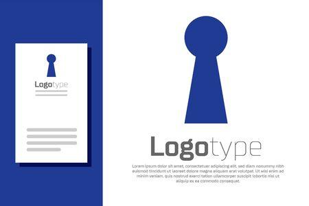 Blue Keyhole icon isolated on white background. Key of success solution. Keyhole express the concept of riddle, secret, safety, security. Logo design template element. Vector Illustration Illusztráció