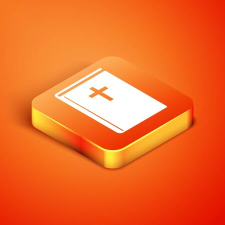 Isometric Holy bible book icon isolated on orange background. Vector Illustration