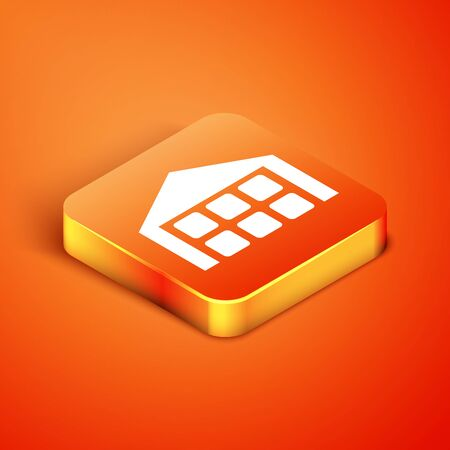 Isometric Warehouse icon isolated on orange background. Vector Illustration