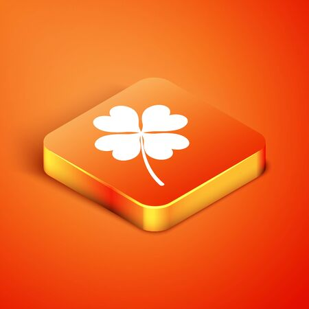 Isometric Four leaf clover icon isolated on orange background. Happy Saint Patrick day. Vector Illustration